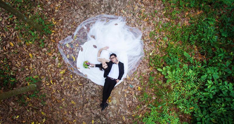 Chụp ảnh cưới ấn tượng bằng Flycam ấn tượng